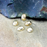 Plastic Flat Back Metalized Cabochon - Oval 08x6MM GOLD