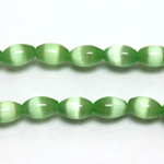 Fiber Optic Synthetic Cat's Eye Bead -  Oval Rice 09x6MM CAT'S EYE LT GREEN