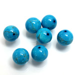 Gemstone 1-Hole Ball 10MM HOWLITE DYED TURQUOISE