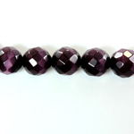 Fiber Optic Synthetic Cat's Eye Bead - Round Faceted 10MM CAT'S EYE PURPLE