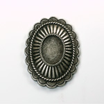 Metalized Plastic Engraved Setting - Oval 47x35MM ANTIQUE SILVER