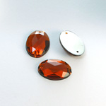 Plastic Flat Back 2-Hole Foiled Sew-On Stone - Oval 18x13MM SMOKE TOPAZ