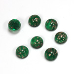 Glass Medium Dome Lampwork Cabochon - Round 07MM GOLD FLECK EMERALD (05053)