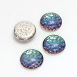 Glass Medium Dome Snakeskin Mosaic Cabochon - Round 13MM HELIO GREEN