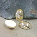 German Plastic Cabochon Vacuum Coated - Oval 18X13MM GOLD