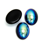 Glass Medium Dome Coated Cabochon - Oval 18x13MM JET AB