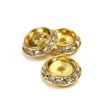 Czech Rhinestone Rondelle Shrag Flat Back Setting - Round 15MM outside with 09mm Recess CRYSTAL-GOLD