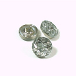 Glass Button - Engraved Top Foiled Round 13MM CRYSTAL