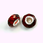 Glass Faceted Bead with Large Hole Silver Plated Center - Round 14x9MM SIAM RUBY