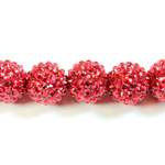 Acrylic Rhinestone Bead with 2MM Hole Resin Base - 18MM RUBY