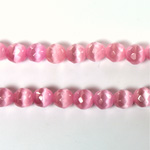 Fiber Optic Synthetic Cat's Eye Bead - Round Faceted 05MM CAT'S EYE LT PINK