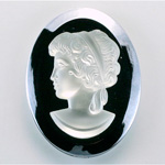 German Plastic Cameo - Woman Oval 40x30MM MATTE CRYSTAL ON HEMATITE