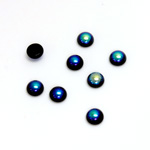 Glass Medium Dome Cabochon - Round 05MM JET AB