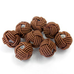 Woven Cotton Glass Base Bead - Round  10MM CHOCOLATE (139)