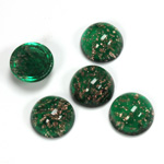 Glass Medium Dome Lampwork Cabochon - Round 11MM GOLD FLECK EMERALD (05053)