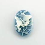 Plastic Cameo - Butterfly Oval 25x18MM WHITE ON ROYAL BLUE FS