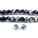 Chinese Cut Crystal Bead 32 Facet - Round 04MM JET with HALF SILVER