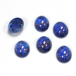 Glass Medium Dome Lampwork Cabochon - Oval 10x8MM GOLD FLECK SAPPHIRE (05054)