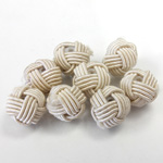 Woven Cotton Glass Base Bead - Round  10MM TAN (217)