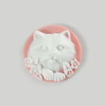 Plastic Cameo - Cat Round 25MM WHITE ON PINK