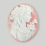 Plastic Cameo - Lady Oval 40x30MM WHITE ON PINK