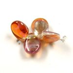 Preciosa Czech Pressed Glass Bead - Pip 5x7MM ORANGE FLARE ON CRYSTAL