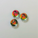 Glass Flat Back 3/4 Ball with Heart - 08MM IRIDIS