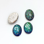 Glass Medium Dome Snakeskin Mosaic Cabochon - Oval 14x10MM HELIO GREEN