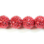 Acrylic Rhinestone Bead with 2MM Hole Resin Base - 20MM RUBY