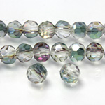 Chinese Cut Crystal Bead 32 Facet - Round 06MM CRYSTAL with HALF GREEN COAT