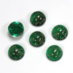 Glass Medium Dome Lampwork Cabochon - Round 09MM GOLD FLECK EMERALD (05053)