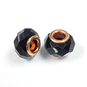 Glass Faceted Bead with Large Hole Copper Plated Center - Round 14x9MM JET