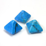 Gemstone Cabochon - Square Pyramid Top 10x10MM HOWLITE DYED TURQUOISE