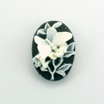 Plastic Cameo - Butterfly Oval 25x18MM WHITE ON BLACK