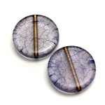 Plastic Bead - Bronze Lined Veggie Color Smooth Flat Round 22MM MATTE SAPPHIRE