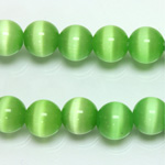 Fiber-Optic Synthetic Bead - Cat's Eye Smooth Round 10MM CAT'S EYE LT GREEN