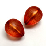 Plastic Bead - Bronze Lined Veggie Color Smooth Pear 22x18MM MATTE BROWN