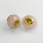 Glass Faceted Bead with Large Hole Gold Plated Center - Round 14x9MM OPAL ROSE