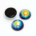 Glass Medium Dome Cabochon - Round 15MM JET AB