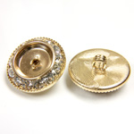 Czech Rhinestone Button - Round 21MM CRYSTAL-GOLD
