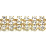 Preciosa Rhinestone Chain - 3 Row PP18 CRYSTAL-GOLD