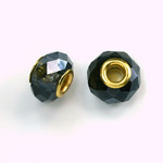 Glass Faceted Bead with Large Hole Gold Plated Center - Round 14x9MM MONTANA