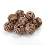 Woven Cotton Glass Base Bead - Round  10MM LIGHT BROWN (148)