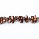 Czech Coated Glass Bead - Baroque 6x8MM PATINA COPPER