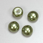 Glass High Dome Cabochon Pearl Dipped - Round 14MM DARK OLIVE