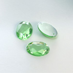 Plastic Flat Back 2-Hole Foiled Sew-On Stone - Oval 18x13MM PERIDOT