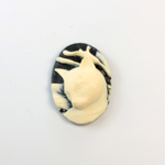 Plastic Cameo - Cat Oval 25x18MM IVORY ON BLACK