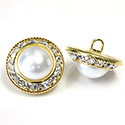 Czech Rhinestone Button - Round 21MM with 13mm WHITE PEARL Cabochon set with CRYSTAL on GOLD