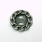 Metalized Plastic Chain Design Setting Round 35MM ANTIQUE SILVER
