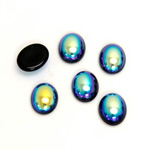 Glass Medium Dome Coated Cabochon - Oval 10x8MM JET AB